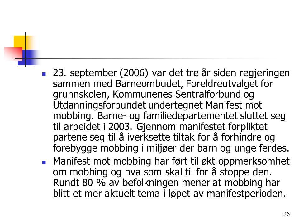 26 23. september (2006) var det tre år siden regjeringen sammen med Barneombudet, Foreldreutvalget for grunnskolen, Kommunenes Sentralforbund og Utdan