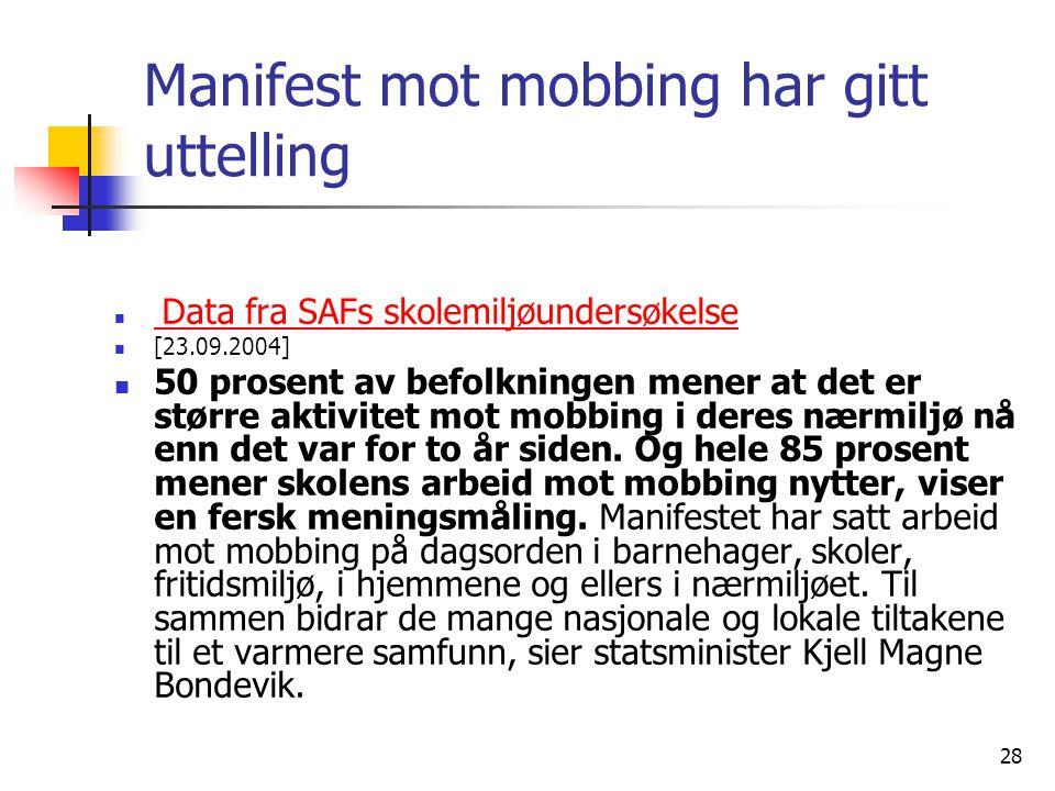 28 Manifest mot mobbing har gitt uttelling Data fra SAFs skolemiljøundersøkelse Data fra SAFs skolemiljøundersøkelse [23.09.2004] 50 prosent av befolk