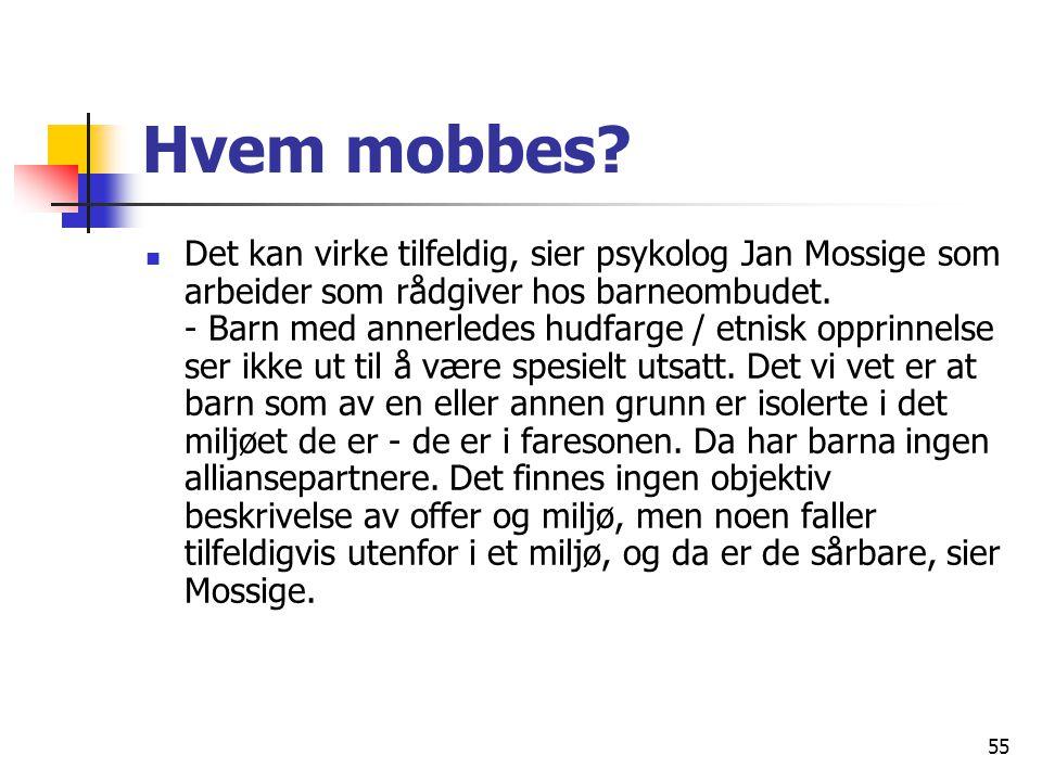 55 Hvem mobbes? Det kan virke tilfeldig, sier psykolog Jan Mossige som arbeider som rådgiver hos barneombudet. - Barn med annerledes hudfarge / etnisk