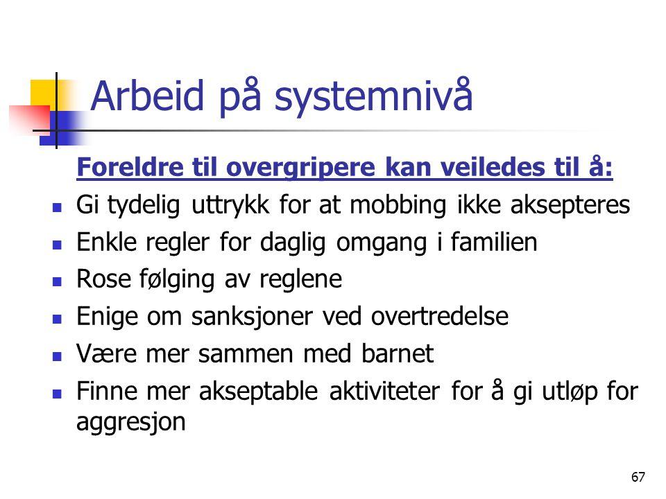 67 Arbeid på systemnivå Foreldre til overgripere kan veiledes til å: Gi tydelig uttrykk for at mobbing ikke aksepteres Enkle regler for daglig omgang
