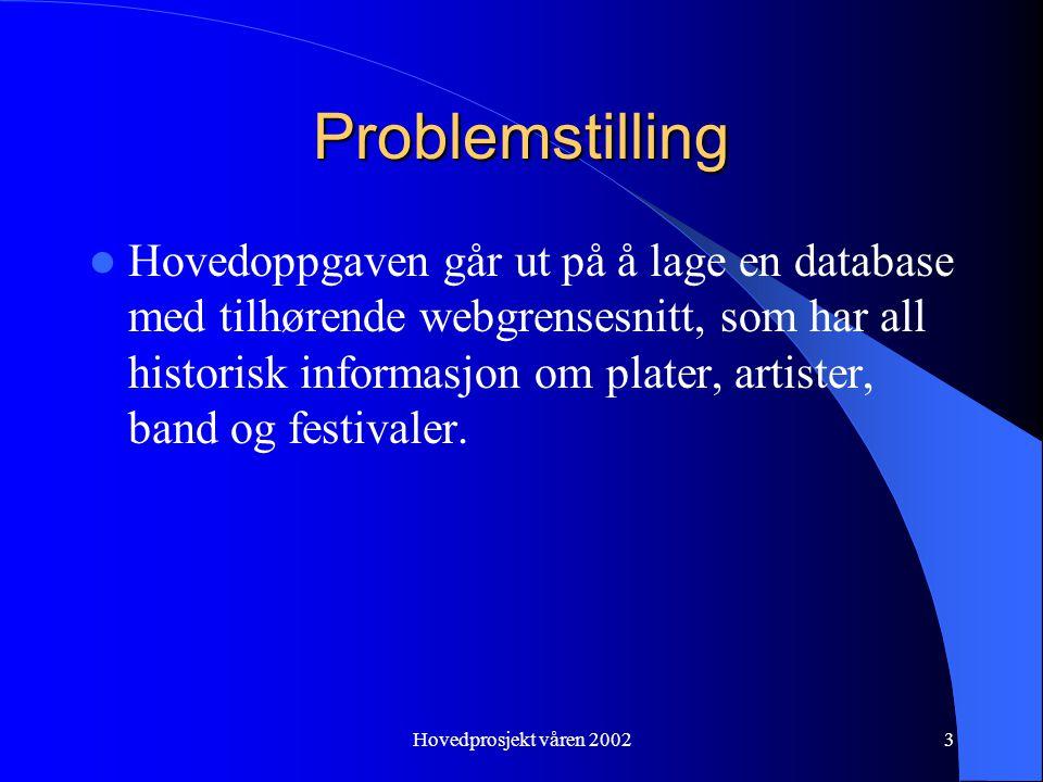 Hovedprosjekt våren 20023 Problemstilling Hovedoppgaven går ut på å lage en database med tilhørende webgrensesnitt, som har all historisk informasjon om plater, artister, band og festivaler.