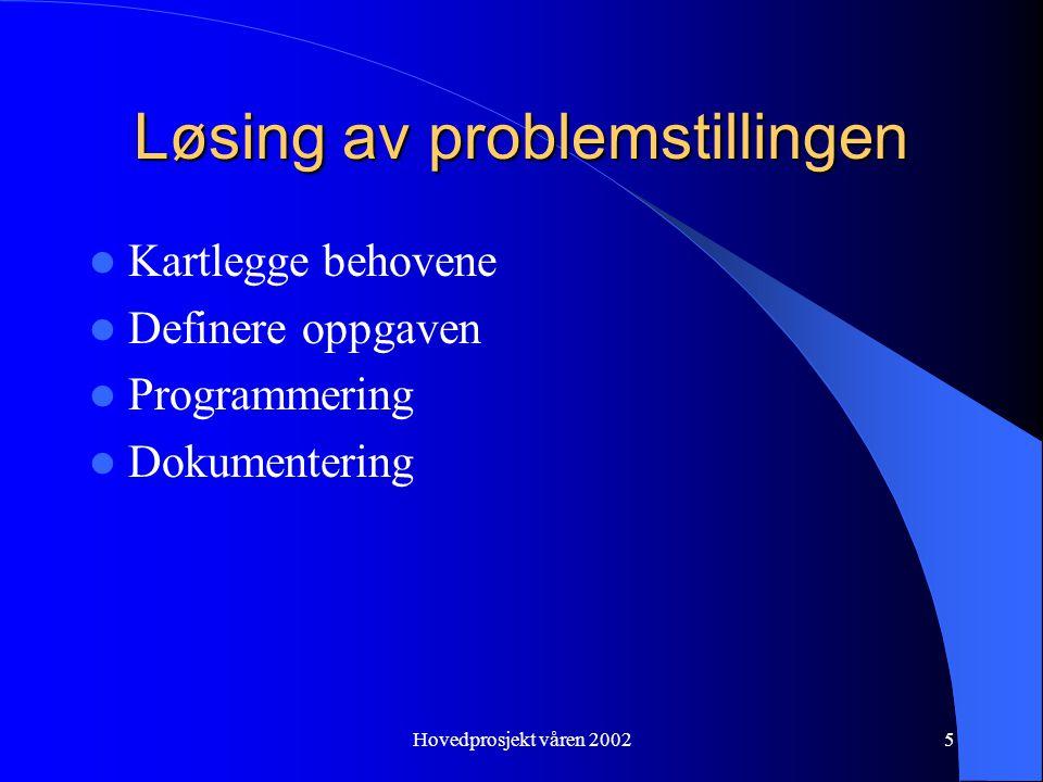 Hovedprosjekt våren 20025 Løsing av problemstillingen Kartlegge behovene Definere oppgaven Programmering Dokumentering
