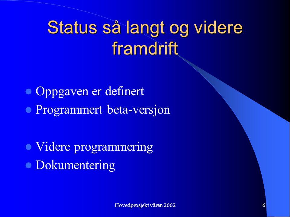 Hovedprosjekt våren 20026 Status så langt og videre framdrift Oppgaven er definert Programmert beta-versjon Videre programmering Dokumentering