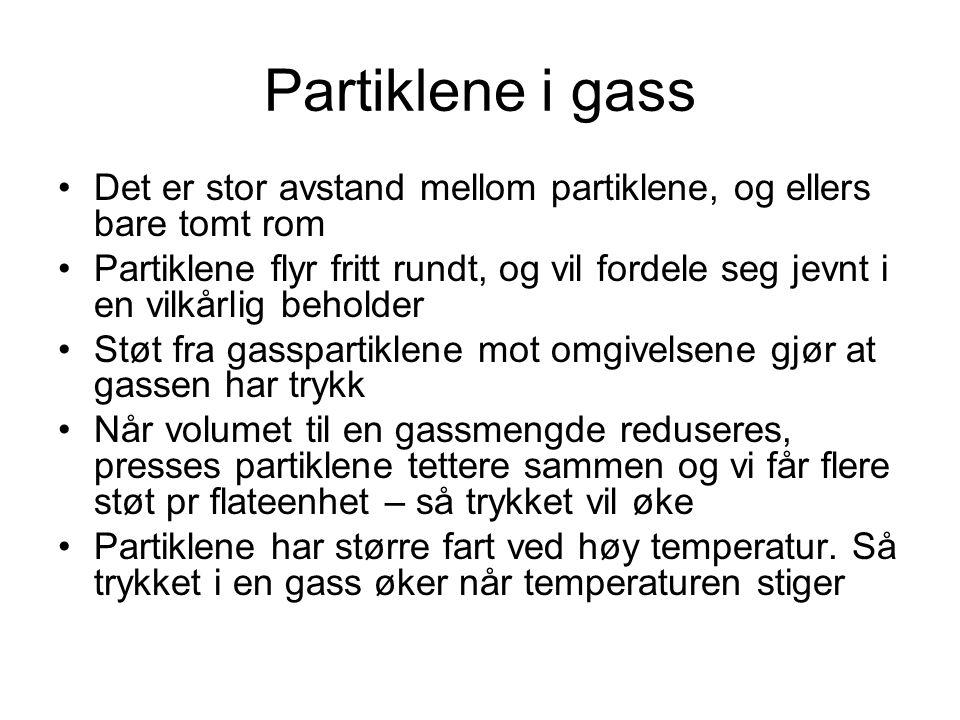 Partiklene i gass Det er stor avstand mellom partiklene, og ellers bare tomt rom Partiklene flyr fritt rundt, og vil fordele seg jevnt i en vilkårlig