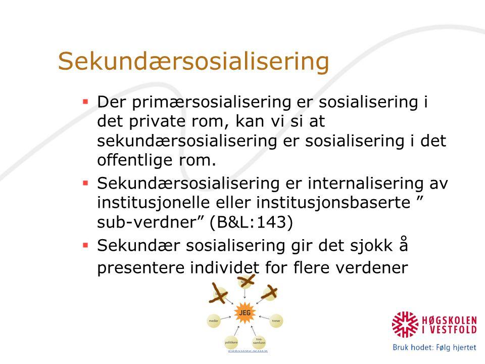 Mattias Øhra Sekundærsosialisering  Der primærsosialisering er sosialisering i det private rom, kan vi si at sekundærsosialisering er sosialisering i det offentlige rom.