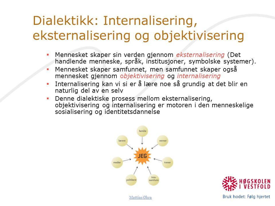 Mattias Øhra Dialektikk: Internalisering, eksternalisering og objektivisering  Mennesket skaper sin verden gjennom eksternalisering (Det handlende menneske, språk, institusjoner, symbolske systemer).