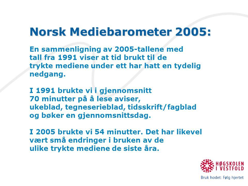 Norsk Mediebarometer 2005: En sammenligning av 2005-tallene med tall fra 1991 viser at tid brukt til de trykte mediene under ett har hatt en tydelig nedgang.