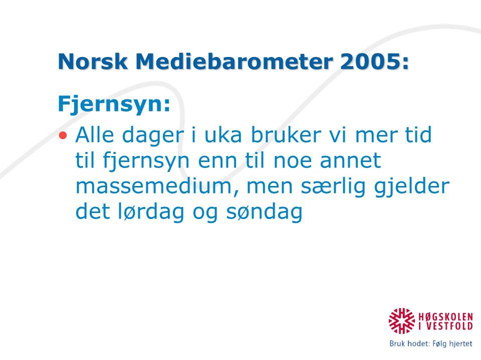 Norsk Mediebarometer 2005: Fjernsyn: Alle dager i uka bruker vi mer tid til fjernsyn enn til noe annet massemedium, men særlig gjelder det lørdag og søndag