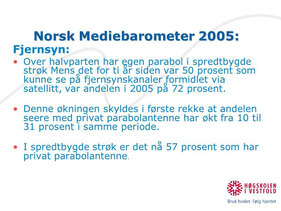 Norsk Mediebarometer 2005: Fjernsyn: Over halvparten har egen parabol i spredtbygde strøk Mens det for ti år siden var 50 prosent som kunne se på fjernsynskanaler formidlet via satellitt, var andelen i 2005 på 72 prosent.