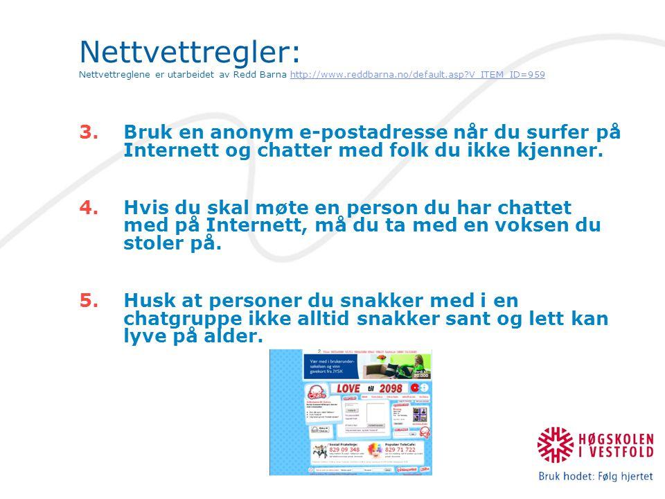 3.Bruk en anonym e-postadresse når du surfer på Internett og chatter med folk du ikke kjenner.