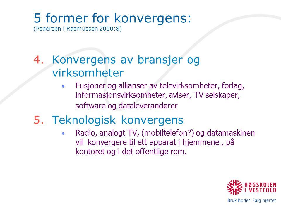 5 former for konvergens: (Pedersen i Rasmussen 2000:8) 4.Konvergens av bransjer og virksomheter Fusjoner og allianser av televirksomheter, forlag, inf