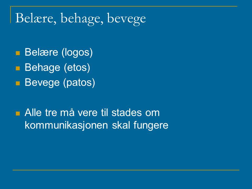Belære, behage, bevege Belære (logos) Behage (etos) Bevege (patos) Alle tre må vere til stades om kommunikasjonen skal fungere