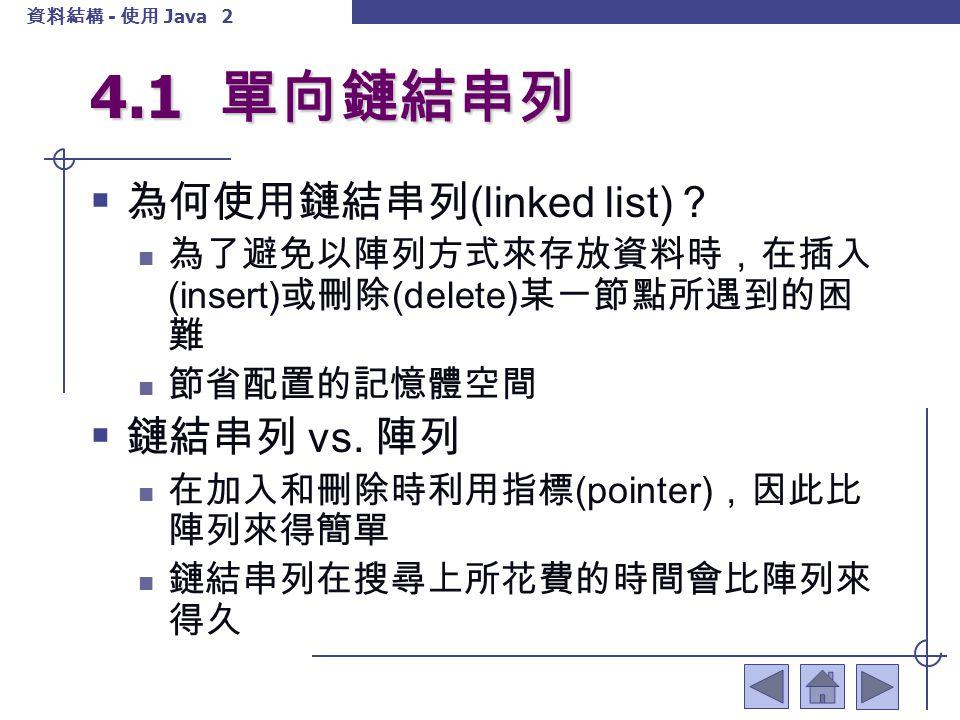 資料結構 - 使用 Java 3 4.1 單向鏈結串列  假設鏈結串列中每個節點有姓名 (name) 、分數 (score) 及指向下一個節點的指標 (next) ,若將節點 結構定義為 Node 型態,則宣告的方式如下: