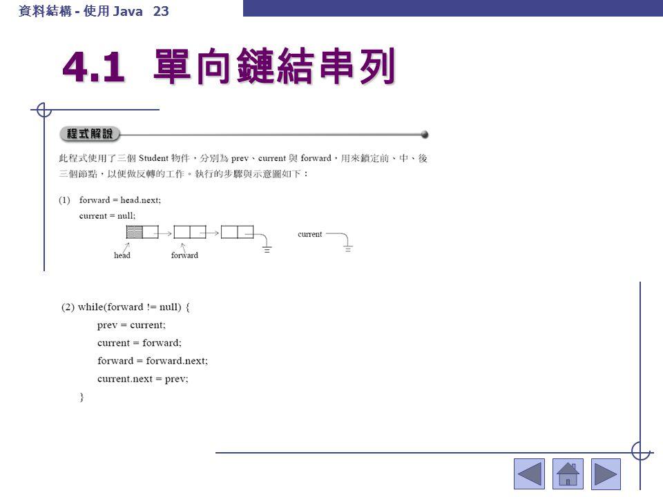 資料結構 - 使用 Java 24 4.1 單向鏈結串列