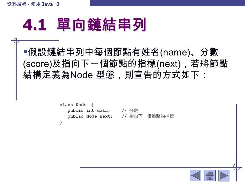 資料結構 - 使用 Java 4 4.1 單向鏈結串列  這是一個很典型的單向鏈結串列 (Single linked list) ,如串列 A = {98, 76} ,其圖形如下:  假設鏈結串列的第一個節點 ( 亦即 head 所指向的 節點 ) 的 score 欄位不放任何資料。讓我們來看看 鏈結串列的加入與刪除的動作,而這些動作可能 作用於前端或尾端或某一特定的節點。