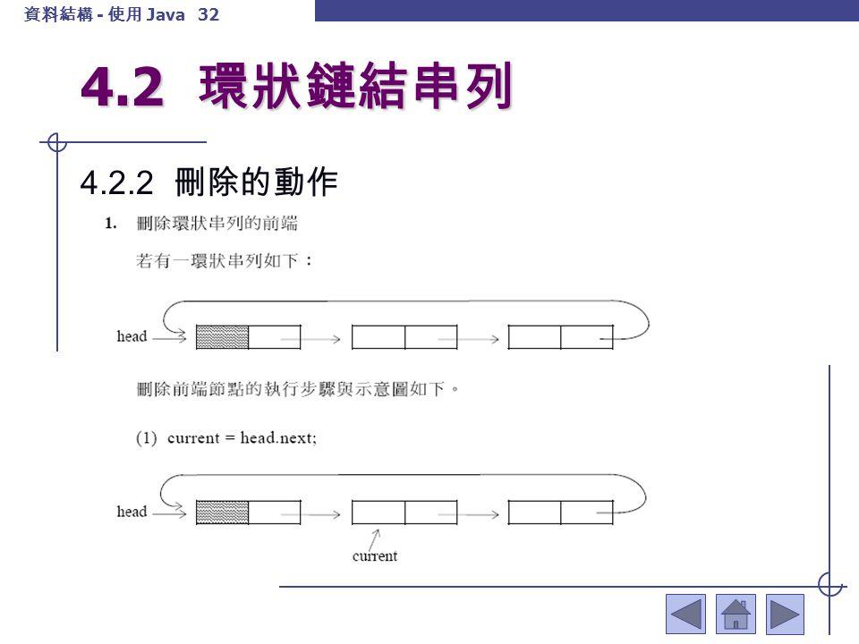 資料結構 - 使用 Java 33 4.2 環狀鏈結串列