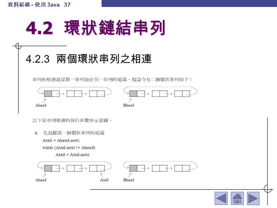 資料結構 - 使用 Java 38 4.2 環狀鏈結串列