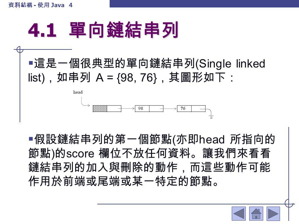 資料結構 - 使用 Java 5 4.1 單向鏈結串列 4.1.1 加入動作