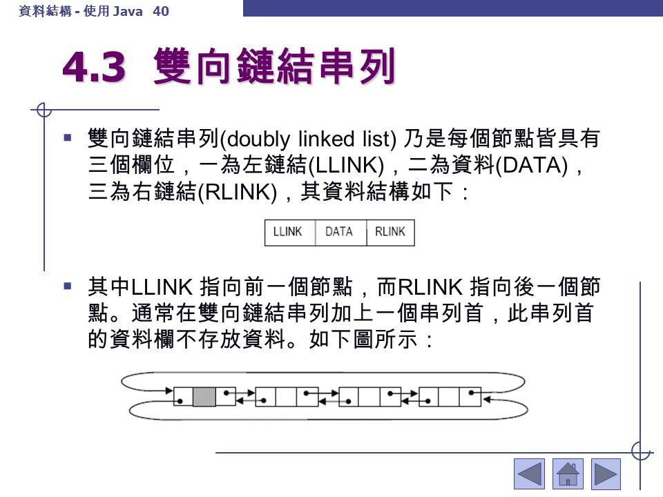 資料結構 - 使用 Java 41 4.3 雙向鏈結串列 雙向鏈結串列具有下列兩點特性:  1.