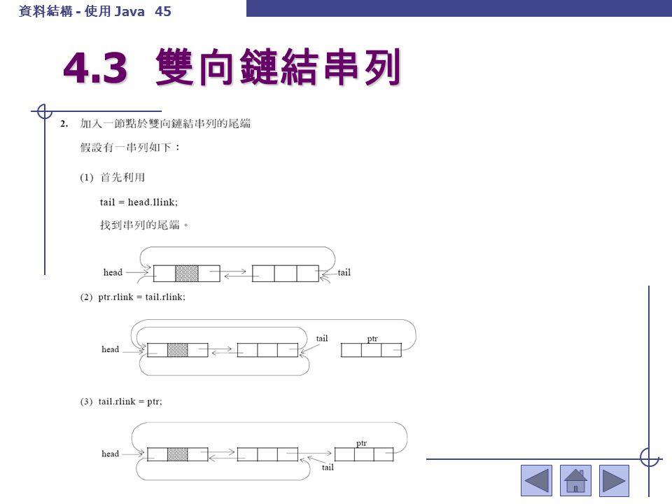 資料結構 - 使用 Java 46 4.3 雙向鏈結串列