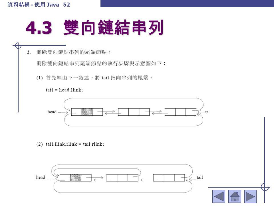 資料結構 - 使用 Java 53 4.3 雙向鏈結串列
