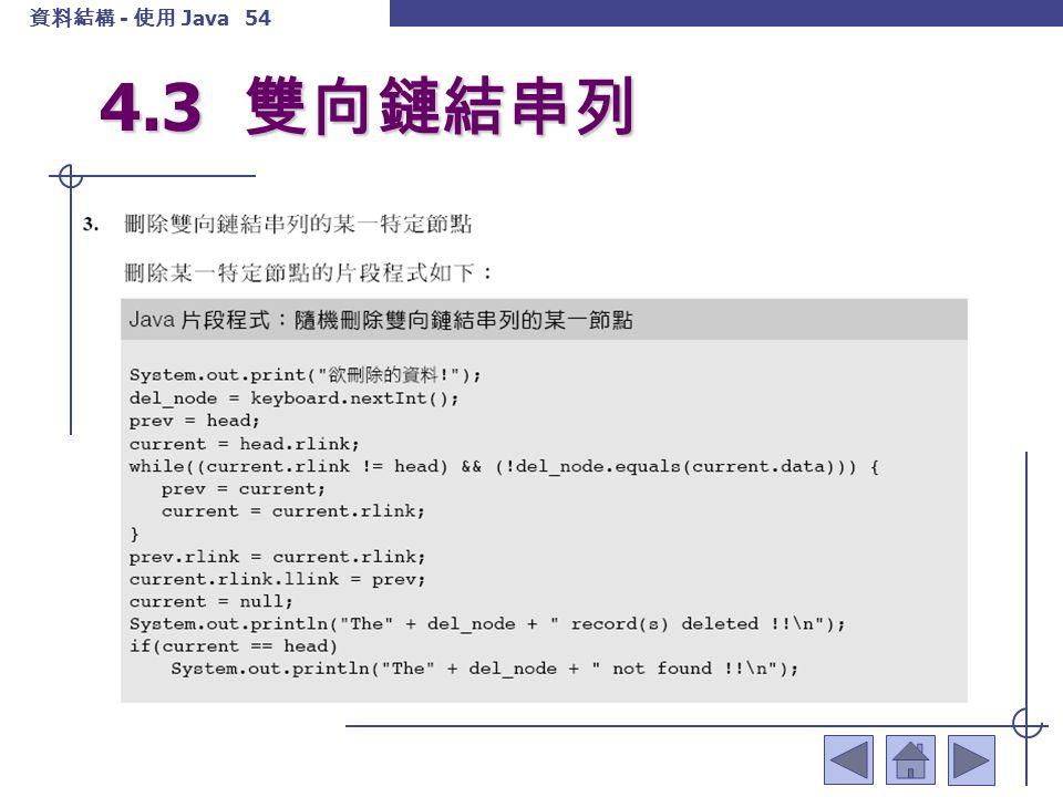 資料結構 - 使用 Java 55 4.3 雙向鏈結串列
