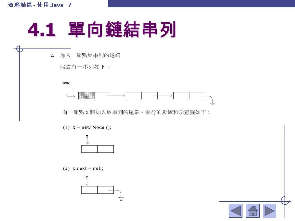 資料結構 - 使用 Java 8 4.1 單向鏈結串列