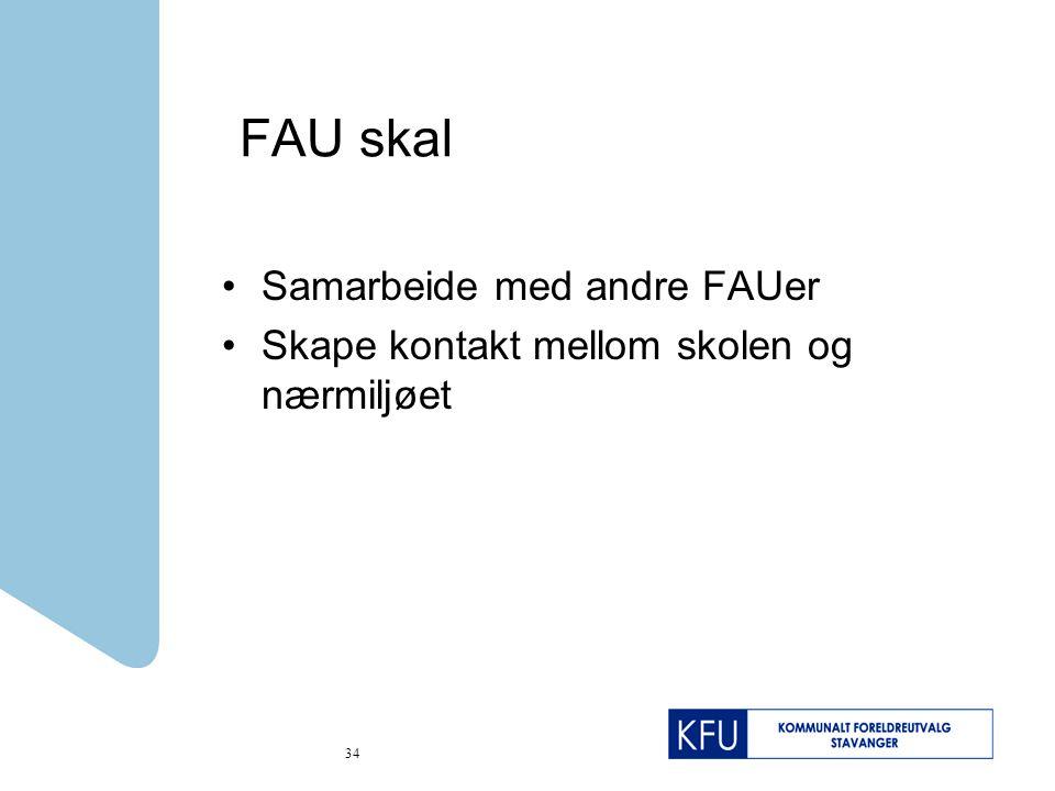 34 FAU skal Samarbeide med andre FAUer Skape kontakt mellom skolen og nærmiljøet