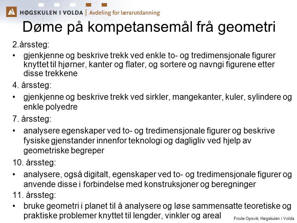 Frode Opsvik, Høgskulen i Volda Døme på kompetansemål frå geometri 2.årssteg: gjenkjenne og beskrive trekk ved enkle to- og tredimensjonale figurer kn