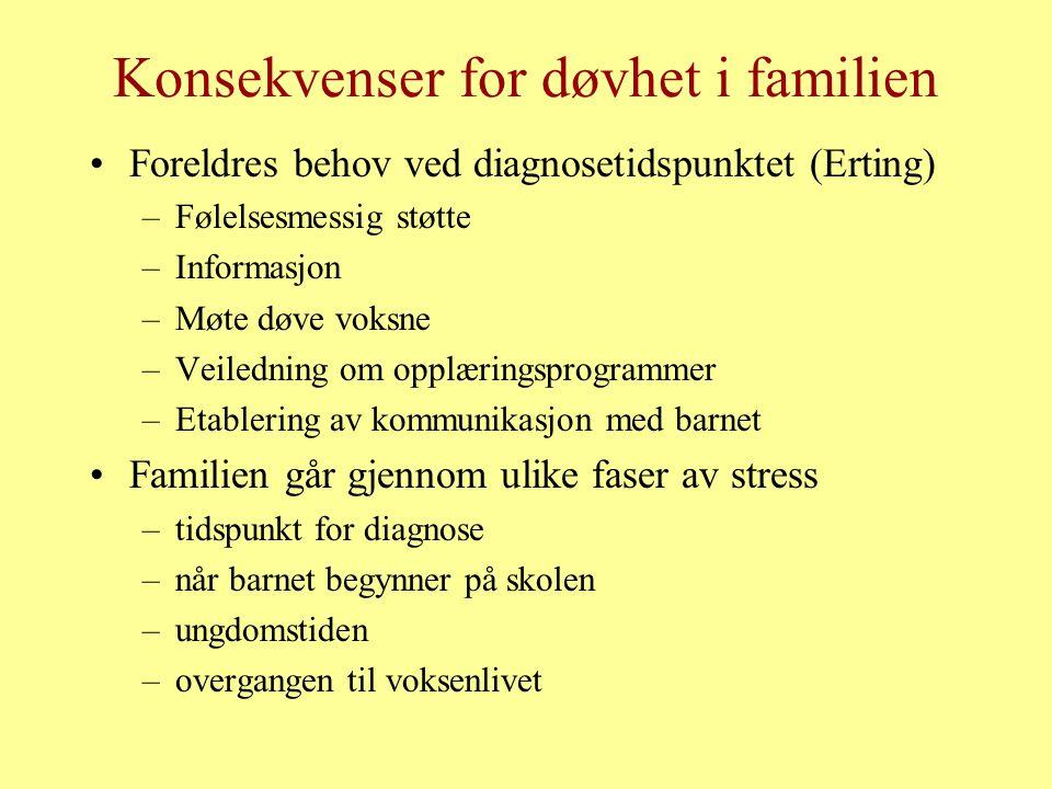 Konsekvenser for døvhet i familien Foreldres behov ved diagnosetidspunktet (Erting) –Følelsesmessig støtte –Informasjon –Møte døve voksne –Veiledning