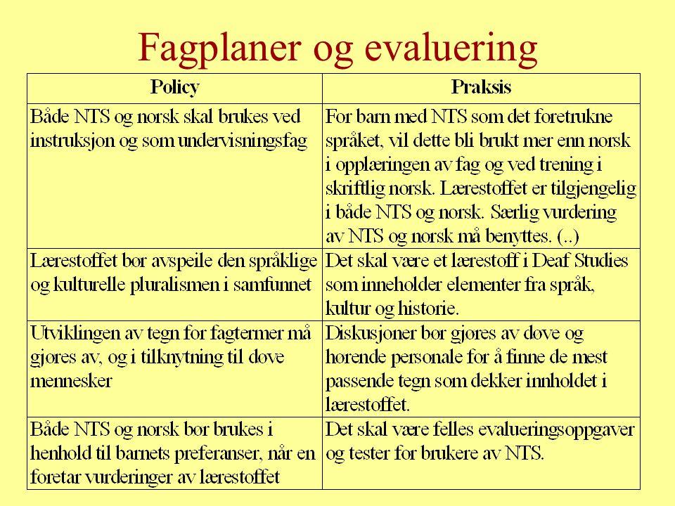 Fagplaner og evaluering