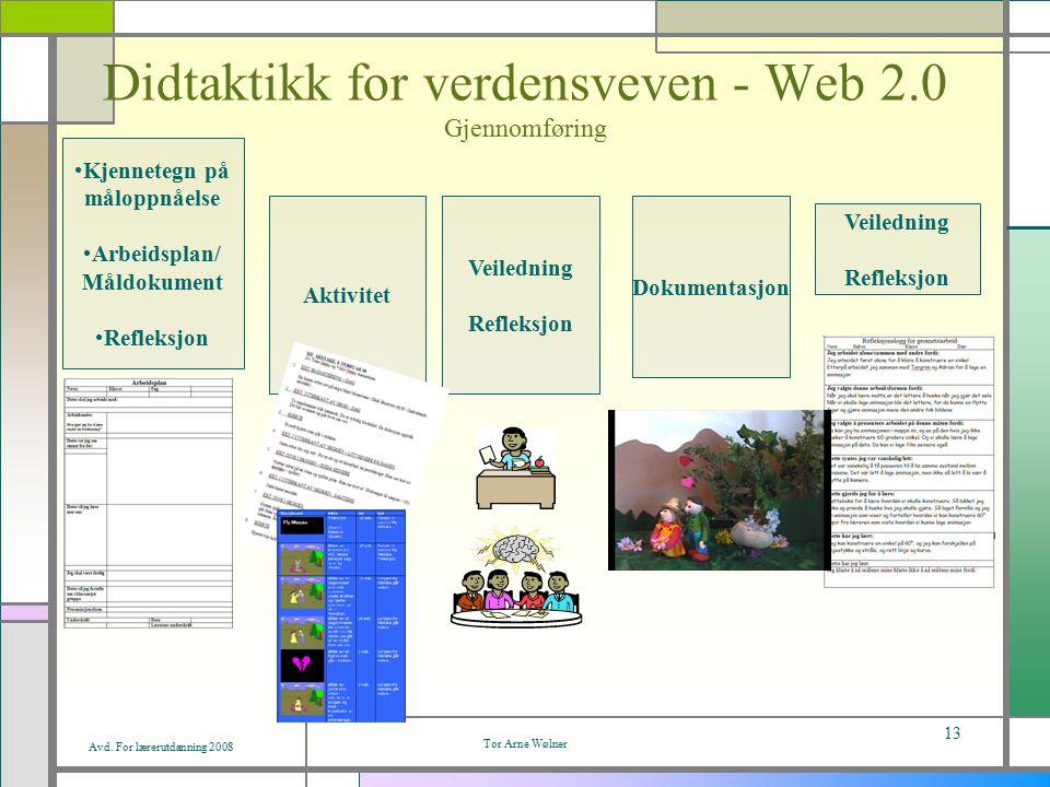 Avd. For lærerutdanning 2008 Tor Arne Wølner 13 Didtaktikk for verdensveven - Web 2.0 Gjennomføring Kjennetegn på måloppnåelse Arbeidsplan/ Måldokumen