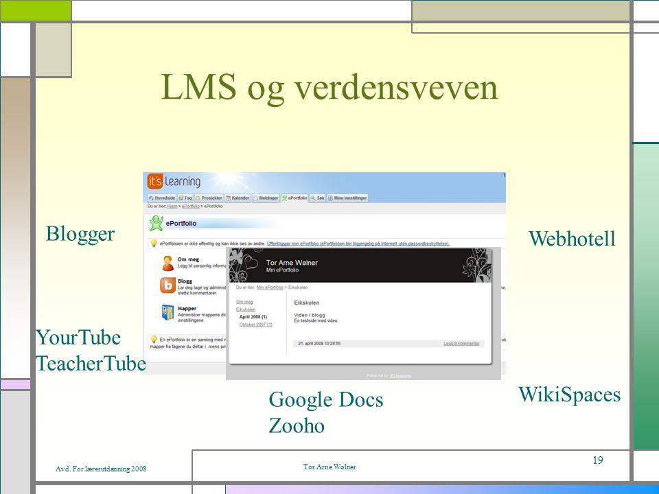 Avd. For lærerutdanning 2008 Tor Arne Wølner 19 LMS og verdensveven Blogger YourTube TeacherTube Google Docs Zooho WikiSpaces Webhotell