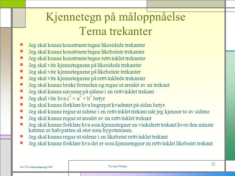 Avd. For lærerutdanning 2008 Tor Arne Wølner 22 Kjennetegn på måloppnåelse Tema trekanter Jeg skal kunne konstruere/tegne likesidede trekanter Jeg ska