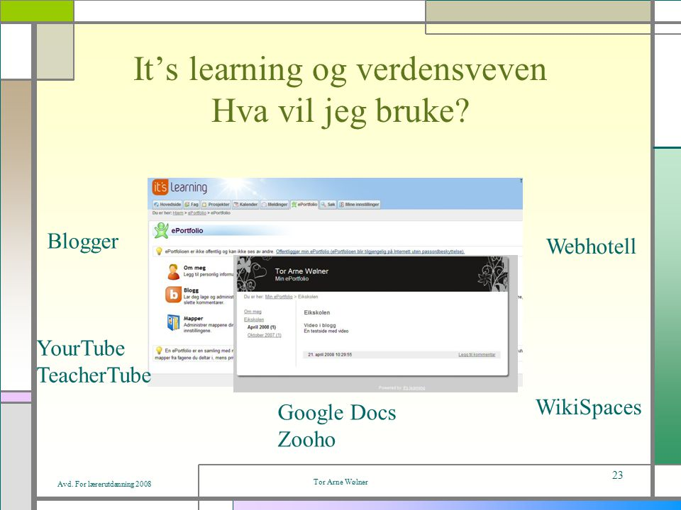 Avd. For lærerutdanning 2008 Tor Arne Wølner 23 It's learning og verdensveven Hva vil jeg bruke.