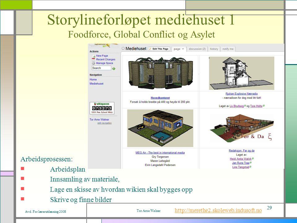 Avd. For lærerutdanning 2008 Tor Arne Wølner 29 Storylineforløpet mediehuset 1 Foodforce, Global Conflict og Asylet Arbeidsprosessen: Arbeidsplan Inns