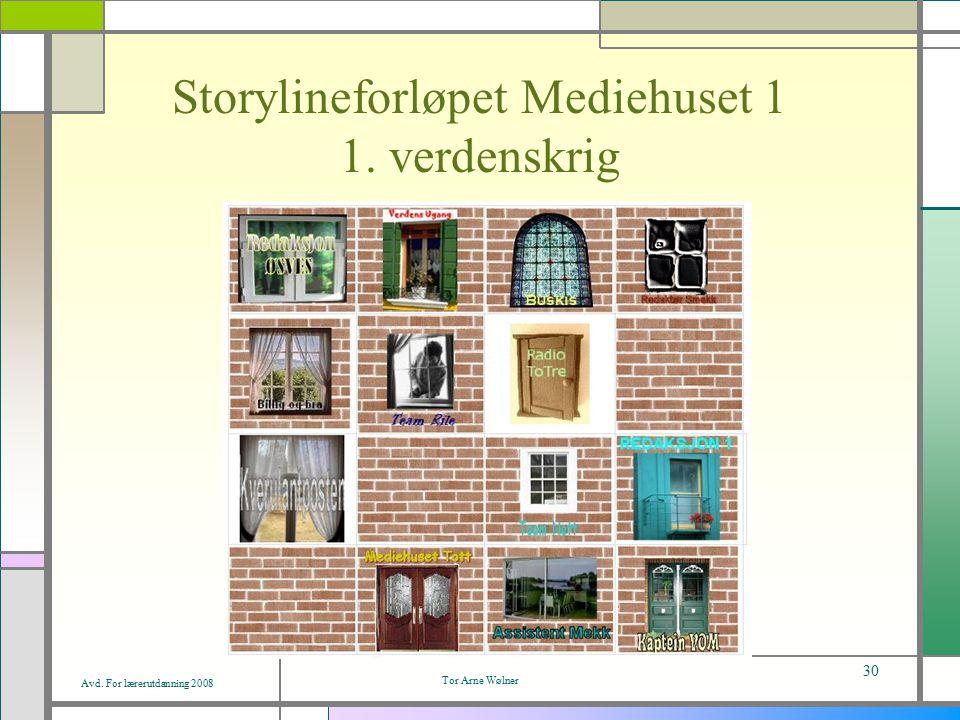 Avd. For lærerutdanning 2008 Tor Arne Wølner 30 Storylineforløpet Mediehuset 1 1. verdenskrig