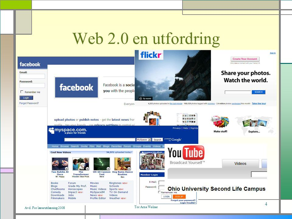 Avd. For lærerutdanning 2008 Tor Arne Wølner 4 Web 2.0 en utfordring