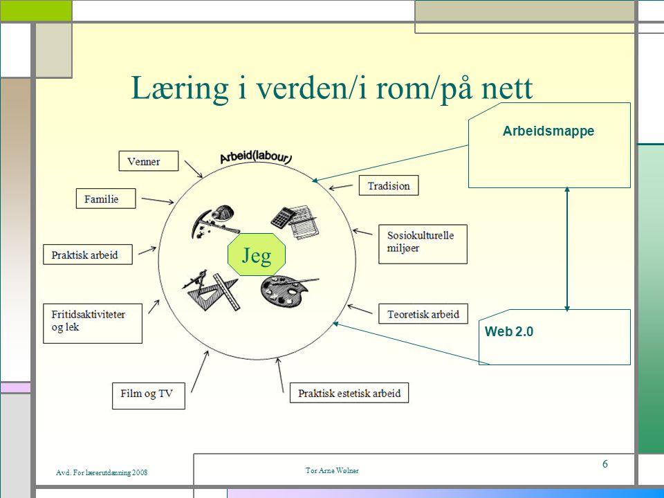 Avd. For lærerutdanning 2008 Tor Arne Wølner 6 Læring i verden/i rom/på nett Web 2.0 Arbeidsmappe Jeg