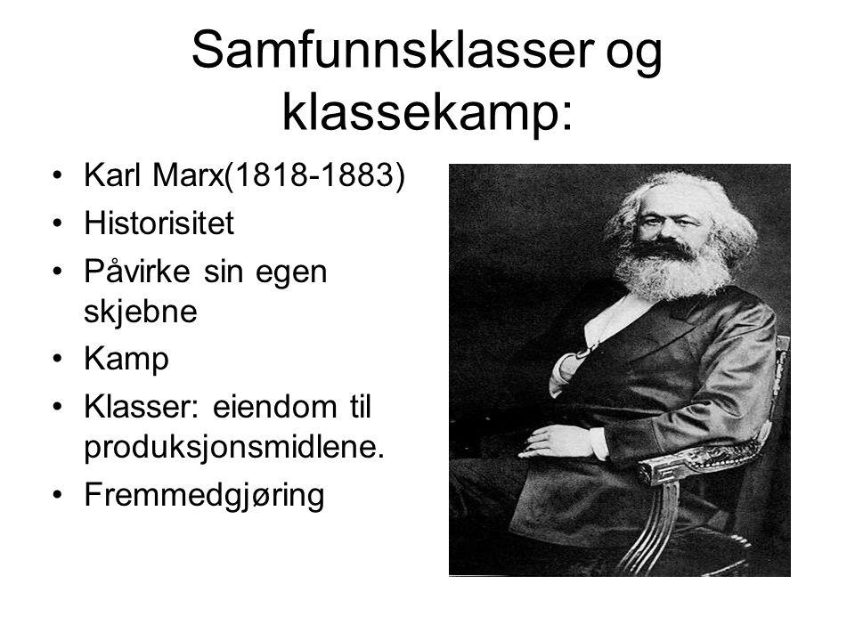 Samfunnsklasser og klassekamp: Karl Marx(1818-1883) Historisitet Påvirke sin egen skjebne Kamp Klasser: eiendom til produksjonsmidlene. Fremmedgjøring