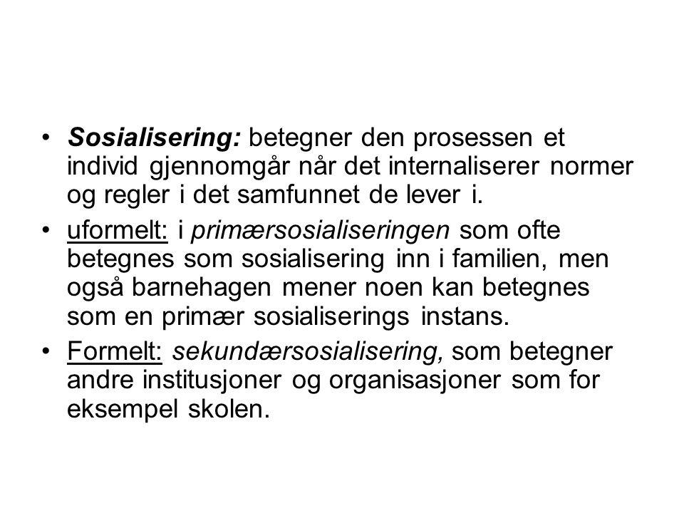 Sosialisering: betegner den prosessen et individ gjennomgår når det internaliserer normer og regler i det samfunnet de lever i. uformelt: i primærsosi