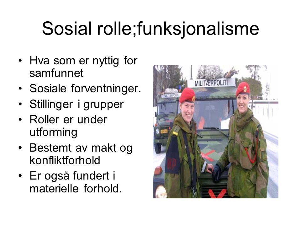 Sosial rolle;funksjonalisme Hva som er nyttig for samfunnet Sosiale forventninger. Stillinger i grupper Roller er under utforming Bestemt av makt og k