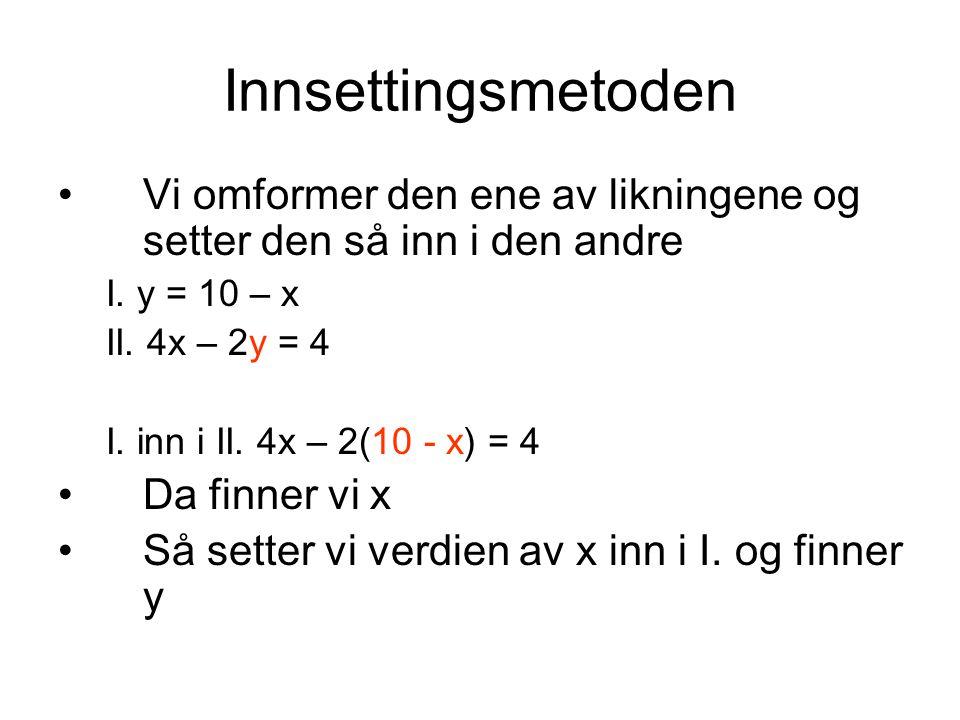 Innsettingsmetoden Vi omformer den ene av likningene og setter den så inn i den andre I. y = 10 – x II. 4x – 2y = 4 I. inn i II. 4x – 2(10 - x) = 4 Da