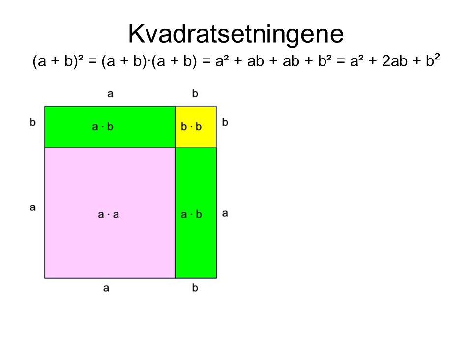 Kvadratsetningene (a + b)² = (a + b)·(a + b) = a² + ab + ab + b² = a² + 2ab + b ²