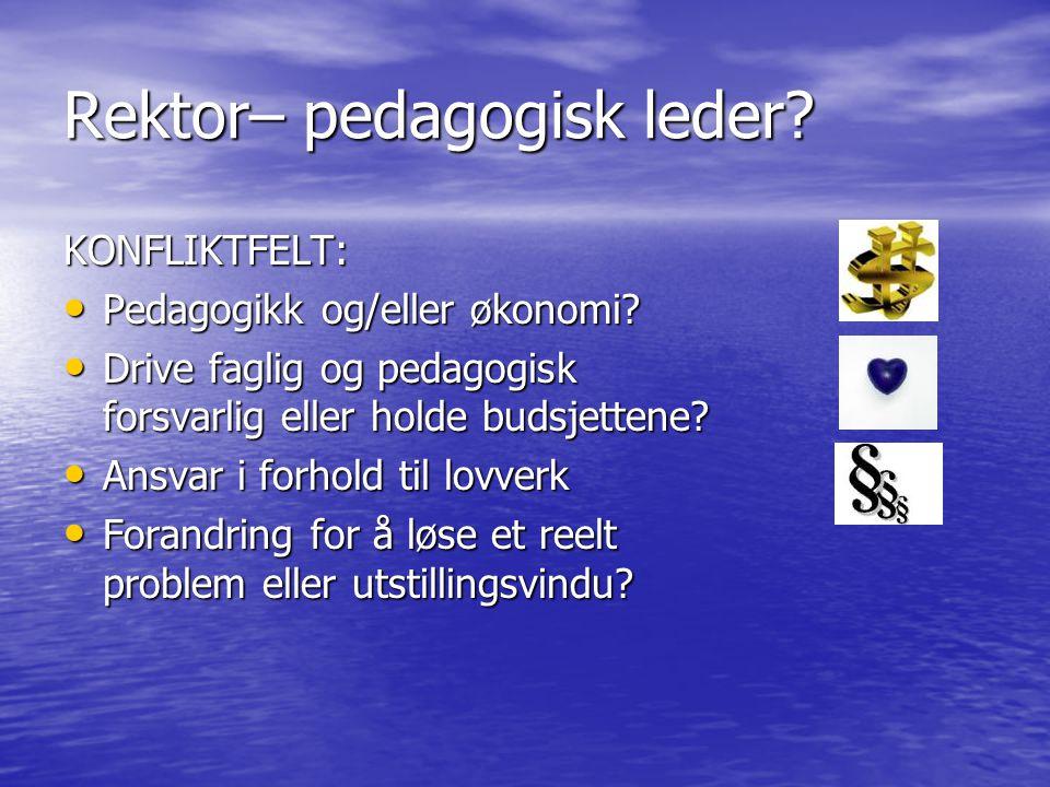 Rektor– pedagogisk leder? KONFLIKTFELT: Pedagogikk og/eller økonomi? Pedagogikk og/eller økonomi? Drive faglig og pedagogisk forsvarlig eller holde bu