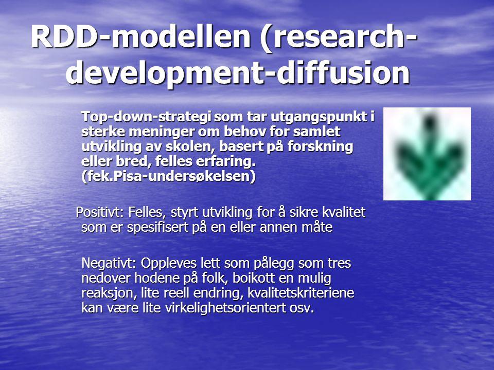 RDD-modellen (research- development-diffusion Top-down-strategi som tar utgangspunkt i sterke meninger om behov for samlet utvikling av skolen, basert