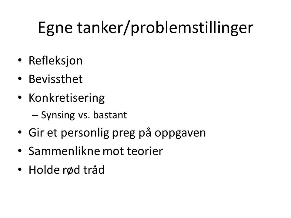 Egne tanker/problemstillinger Refleksjon Bevissthet Konkretisering – Synsing vs.