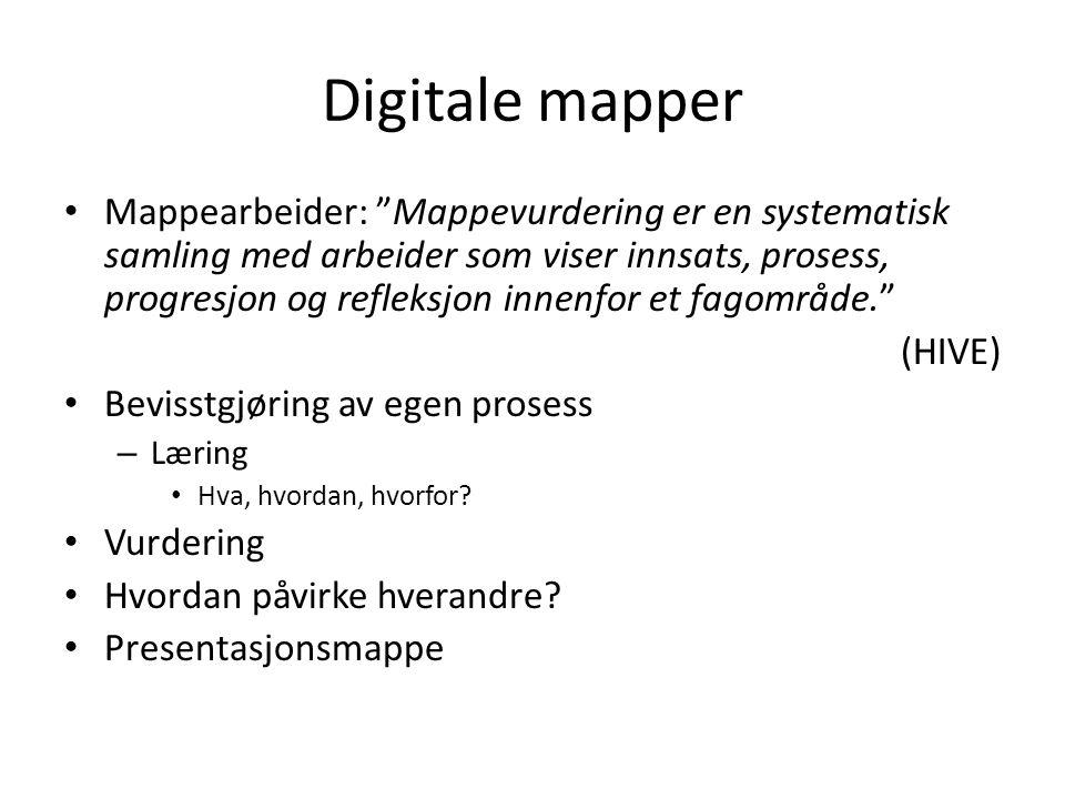 Digitale mapper Mappearbeider: Mappevurdering er en systematisk samling med arbeider som viser innsats, prosess, progresjon og refleksjon innenfor et fagområde. (HIVE) Bevisstgjøring av egen prosess – Læring Hva, hvordan, hvorfor.