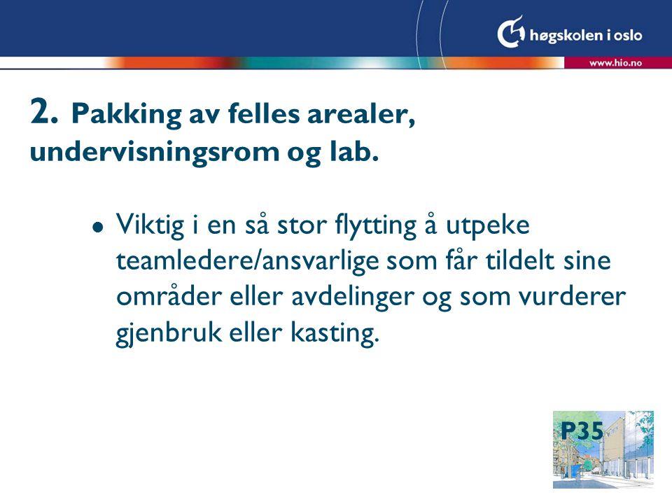 P35 2. Pakking av felles arealer, undervisningsrom og lab.