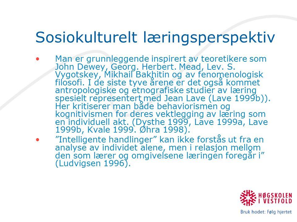 Sosiokulturelt læringsperspektiv Man er grunnleggende inspirert av teoretikere som John Dewey, Georg. Herbert. Mead, Lev. S. Vygotskey, Mikhail Bakhit